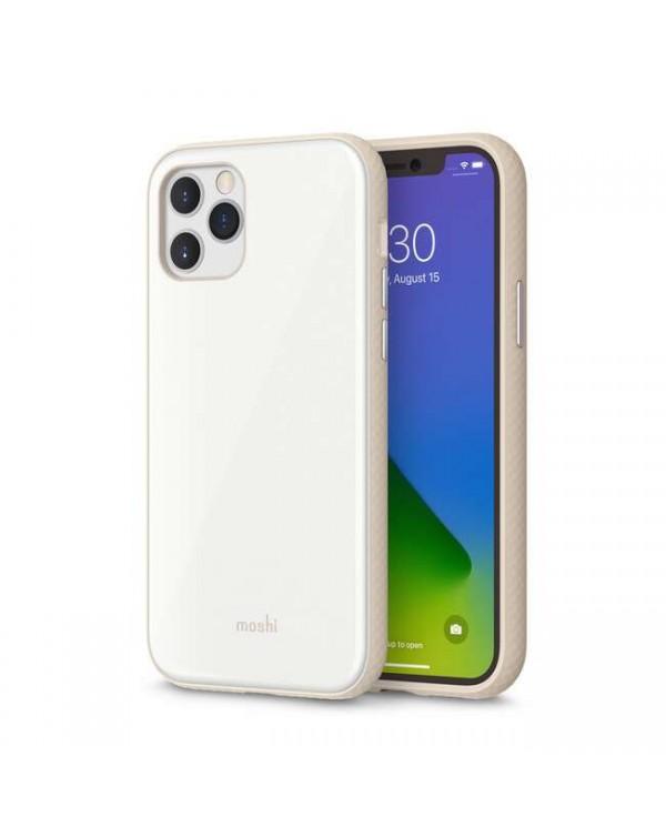 Moshi - iGlaze Slim Hardshell Case Pearl White for iPhone 12/12 Pro