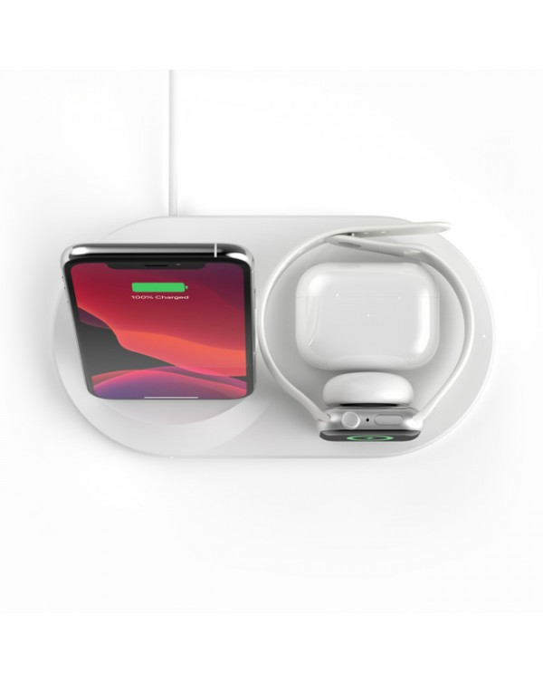 Belkin - BOOST↑CHARGE™ 3-1 Wireless Charger for iPhone + Apple Watch + AirPods White