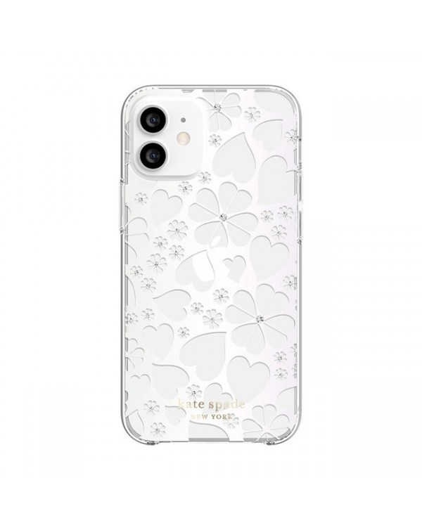 Kate Spade - Protective Hardshell Case Clover Hearts Knockout for iPhone 12 mini