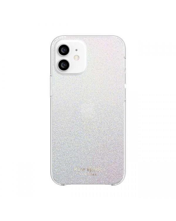 Kate Spade - Protective Hardshell Case White Glitter Wash for iPhone 12 mini