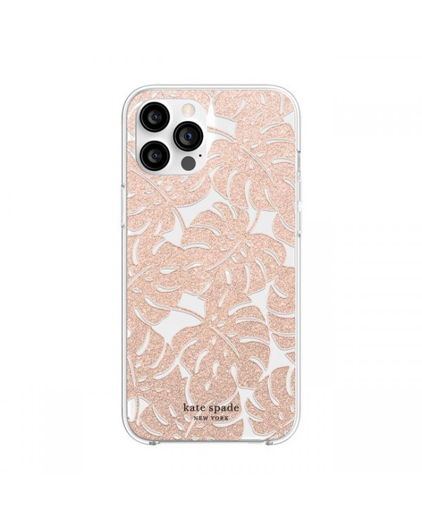 Kate Spade - Protective Hardshell Case Island Leaf Pink Glitter for iPhone 12 Pro Max
