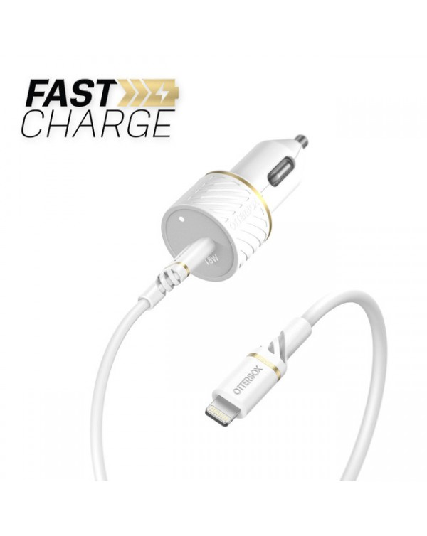 Otterbox - Power Delivery 18W Car Charger USB-C with Lightning Cable 4ft White
