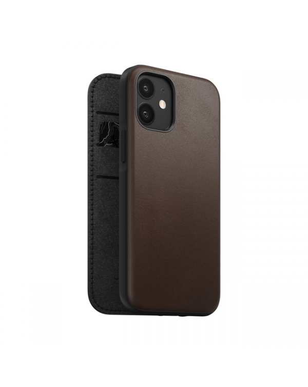 Nomad - Rugged Leather Folio Case Rustic Brown for iPhone 12 mini