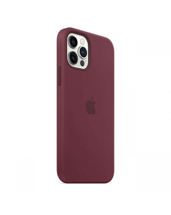 Apple - Silicone Case with MagSafe Plum for iPhone 12/12 Pro
