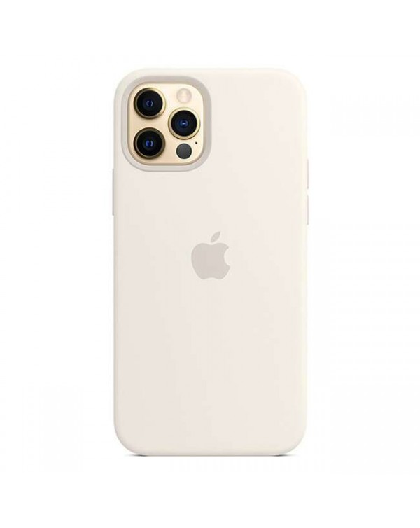 Apple - Silicone Case with MagSafe White for iPhone 12/12 Pro