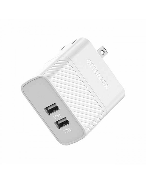 Otterbox - Dual USB 12W Premium Wall Charger with Lightning Cable 4ft White