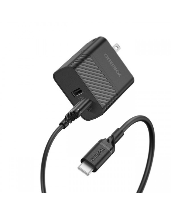 Otterbox - Dual USB 12W Premium Wall Charger with USB-C Cable 4ft Black