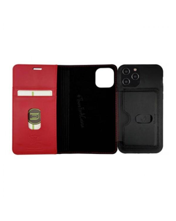 iPhone 12/12 Pro Uunique Black/Red Nutrisiti 2-in-1 Eco Leather Folio & Detachable Back Case