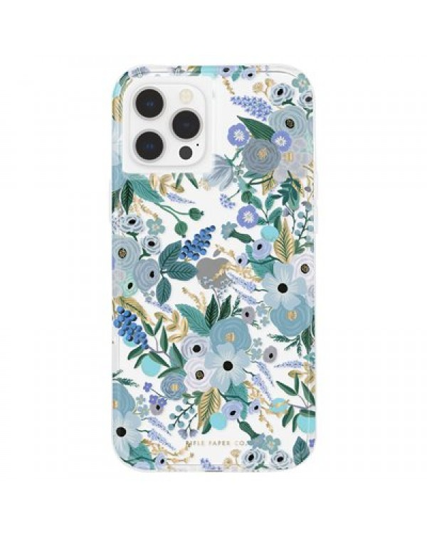 CASE-MATE RIFLE PAPER CASE FOR IPHONE 12 PRO MAX WITH MICROPEL, GARDEN PARTY BLUE