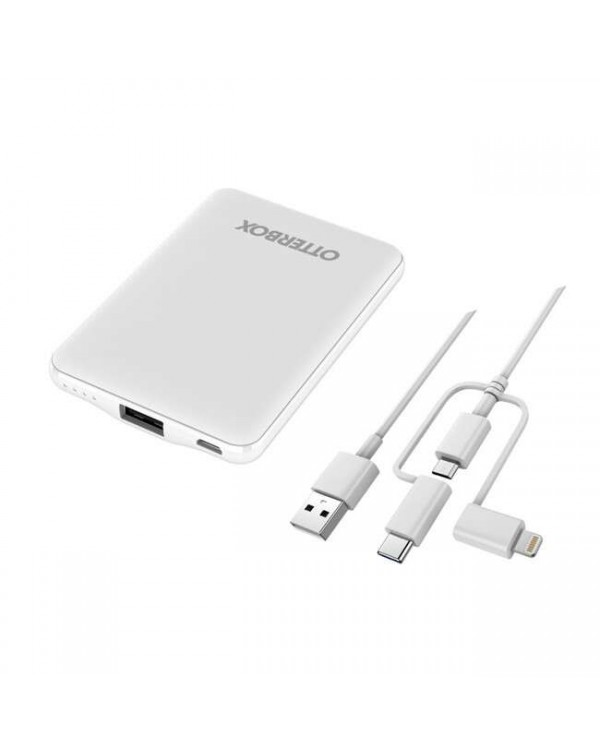 Otterbox - Portable Power Kit 5000 mAh with 3 in 1 Cable White