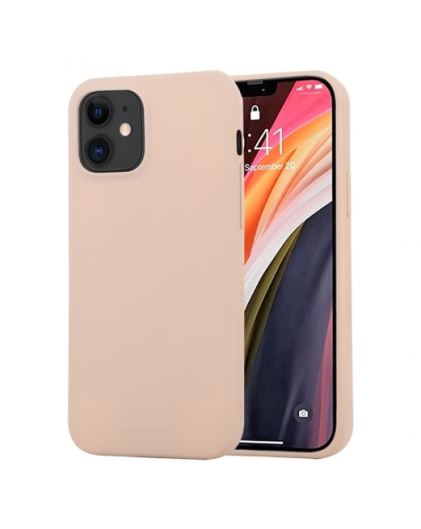 GOOSPERY SOFT FEELING Liquid TPU Shockproof Soft Case for iPhone 12 Mini (Light Pink)