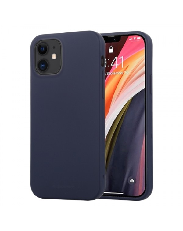 GOOSPERY SOFT FEELING Liquid TPU Shockproof Soft Case for iPhone 12 Mini (Navy Blue)