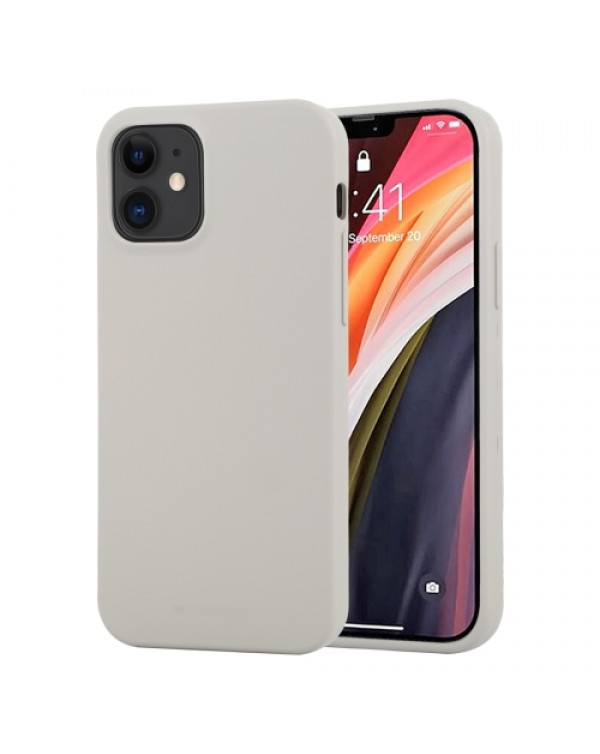GOOSPERY SOFT FEELING Liquid TPU Shockproof Soft Case for iPhone 12 Mini (Stone Grey)