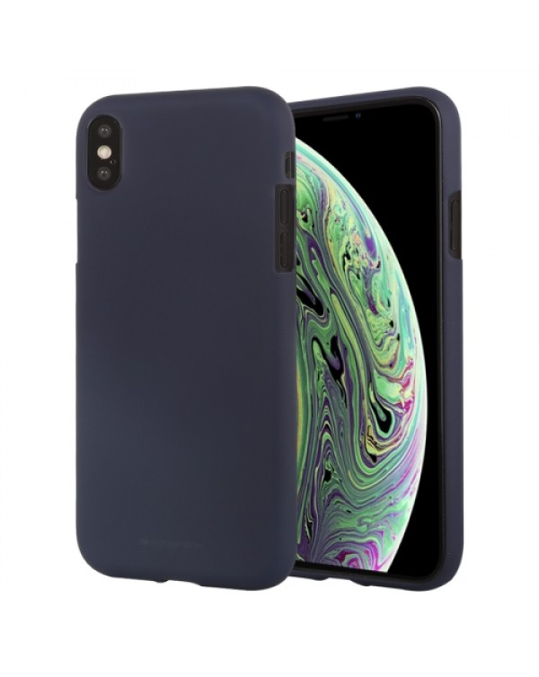 GOOSPERY SOFT FEELING Liquid TPU Drop-proof Soft Case for iPhone XS Max(Dark Blue)