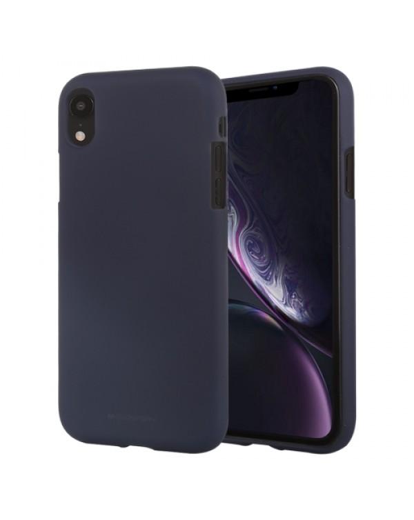 GOOSPERY SOFT FEELING Liquid TPU Drop-proof Soft Case for iPhone XR(Dark Blue)