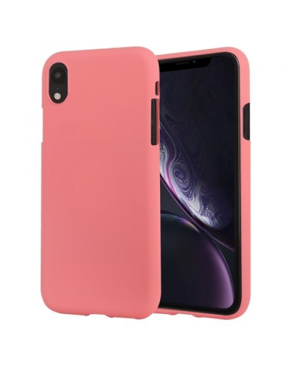 GOOSPERY SOFT FEELING Liquid TPU Drop-proof Soft Case for iPhone XR(Pink)