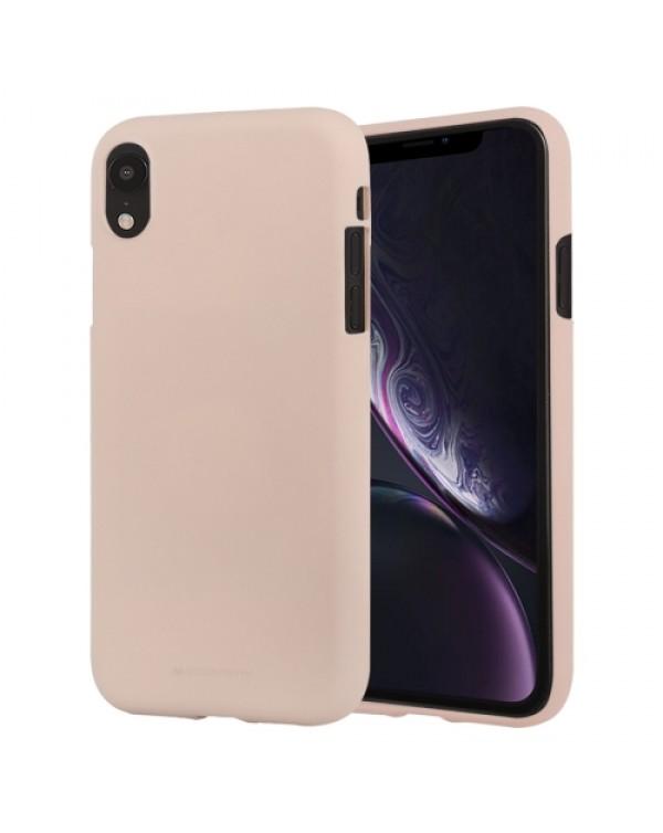 GOOSPERY SOFT FEELING Liquid TPU Drop-proof Soft Case for iPhone XR(Light Pink)