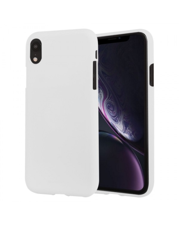 GOOSPERY SOFT FEELING Liquid TPU Drop-proof Soft Case for iPhone XR(White)