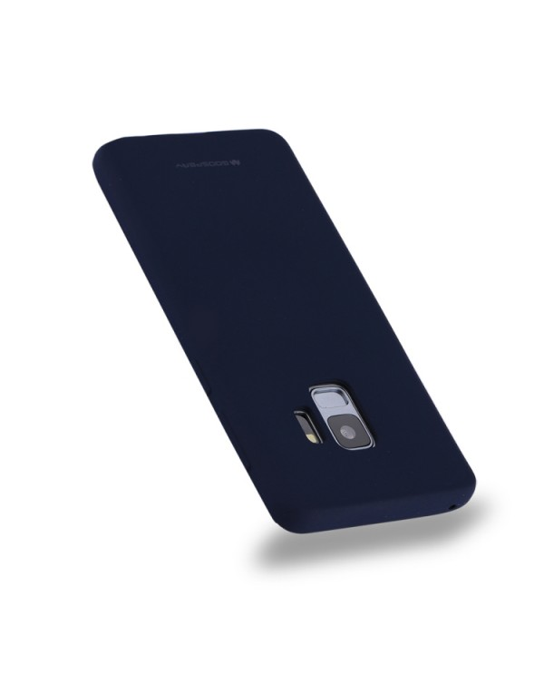GOOSPERY SOFT FEELING for Galaxy S9 TPU Drop-proof Soft Protective Back Cover (Navy)