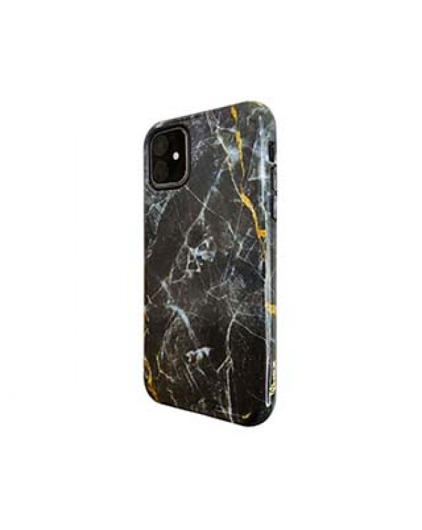 iPhone 11/XR Uunique Black/Gold (Dark Star Marble) Nutrisiti Eco Printed Marble Back Case