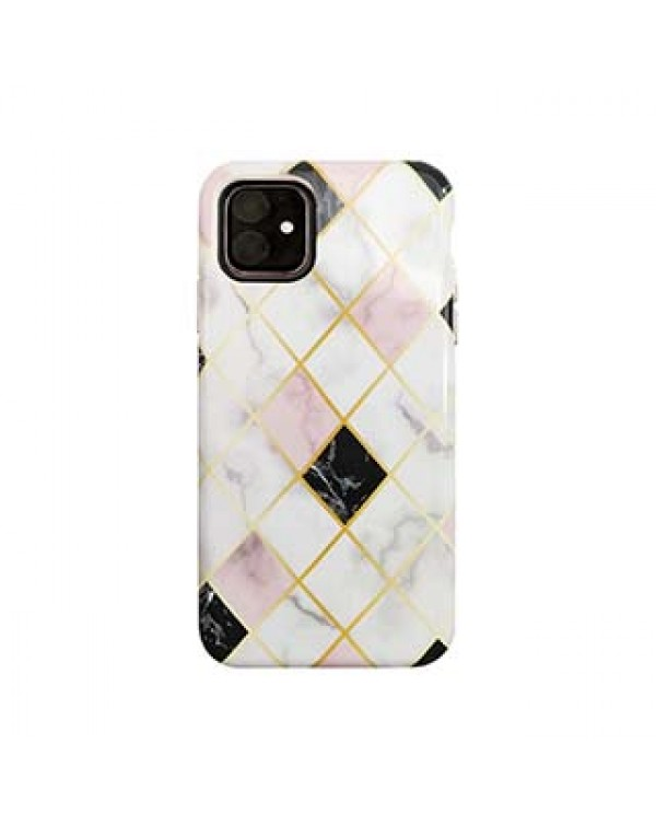 iPhone 11/XR Uunique White/Rose Gold (Diamond Marble) Nutrisiti Eco Printed Marble Back Case