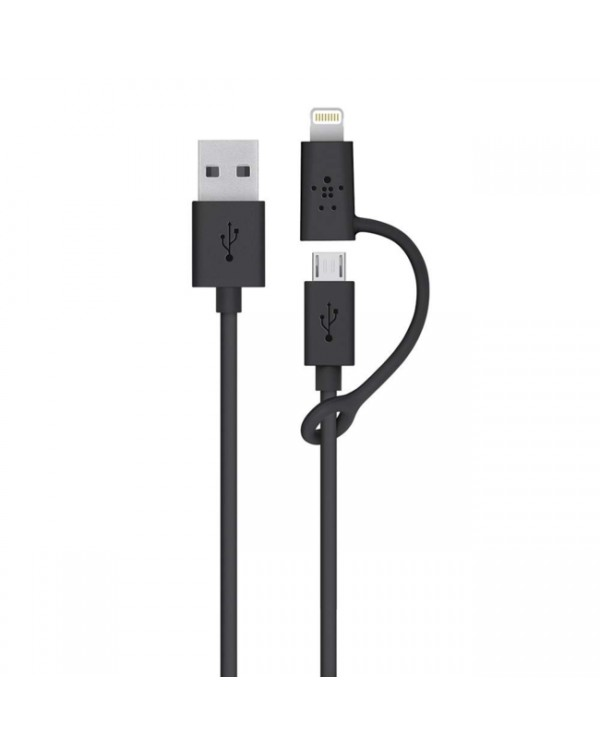 Belkin - Charge/Sync Micro USB Cable with Lightning Adapter 3ft Black