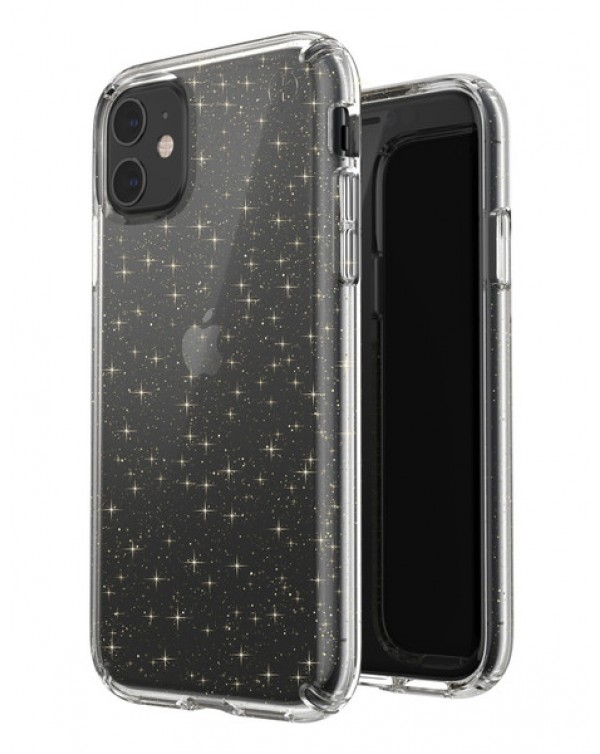 Speck Apple iPhone 11 Presidio Clear + Glitter (Clear With Gold Glitter/Clear) (Anti-Microbial/Microban)
