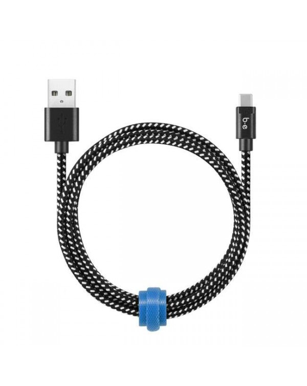 Blu Element - Braided Charge/Sync Lightning to USB Cable 4ft Zebra