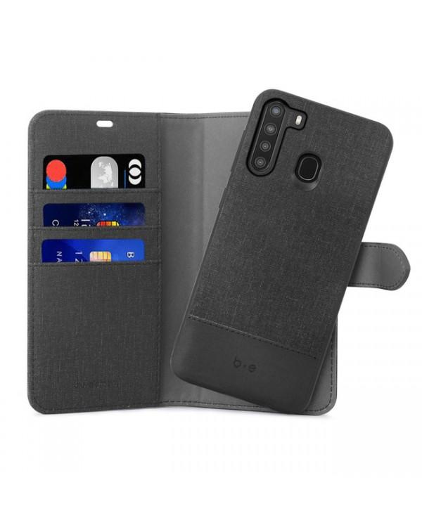 Blu Element - 2 in 1 Folio Case Black/Black for Samsung Galaxy A21