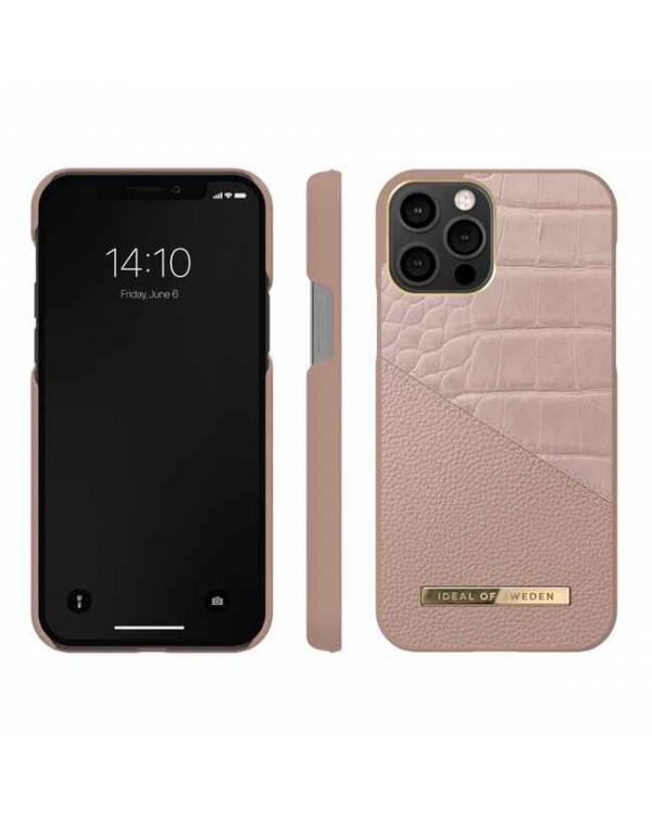 Ideal of Sweden - Atelier Fashion Case Rose Smoke Croco for iPhone 12/12 Pro