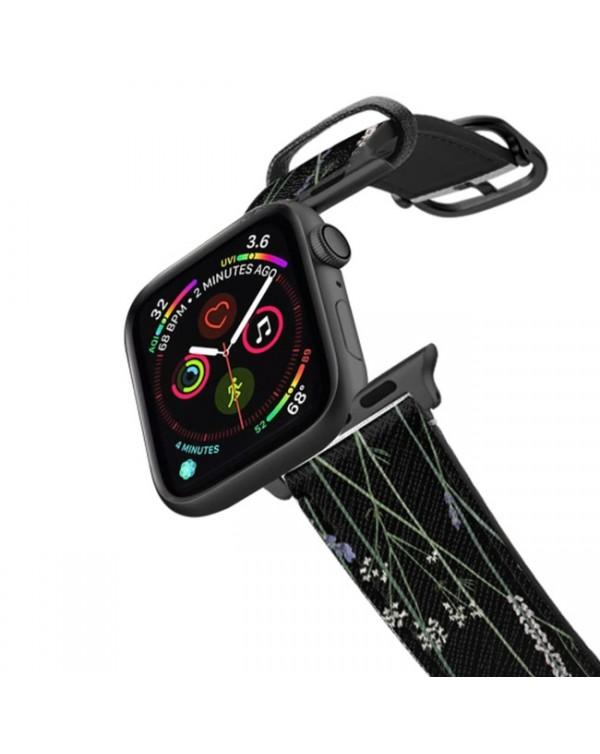 Casetify - Safiano Leather Band Gigi Garden Black for Apple Watch Series 3/4/5/6/SE 44mm/42mm