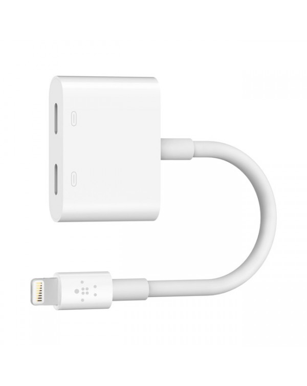 Belkin - Dual Lightning Audio Headphone Adapter White