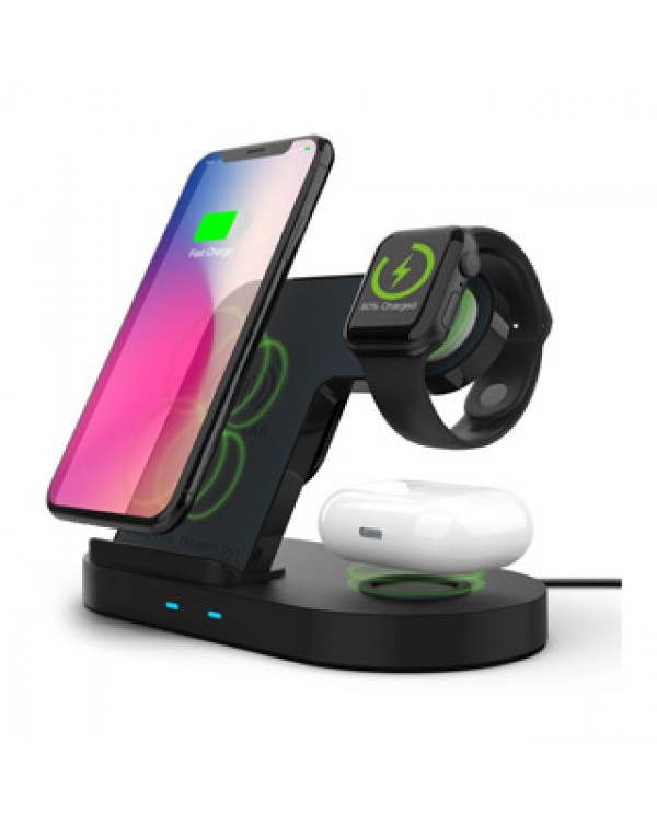 Hypergear 15W Black 3-in-1 Wireless Charging Dock for Phone, Watch & Wireless Headphones