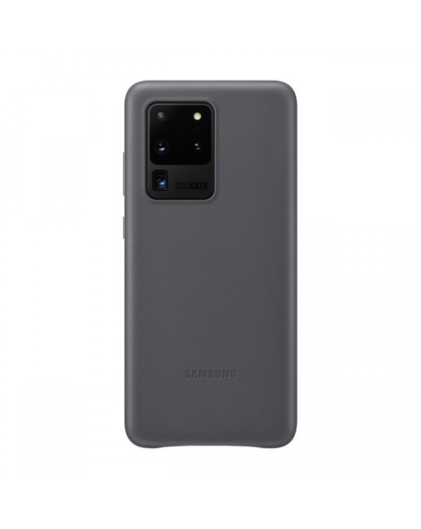 Samsung - Leather Cover Case Gray for Samsung Galaxy S20 Ultra