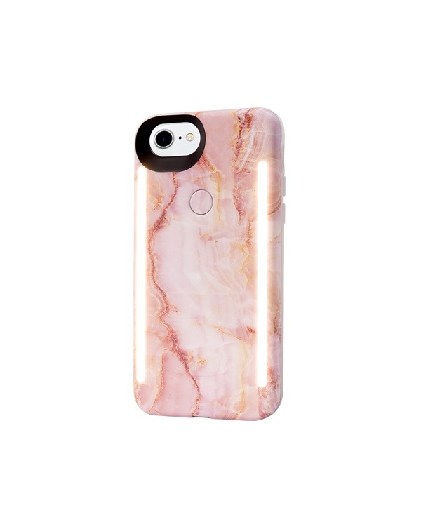 LuMee Duo Pink Marble LED Case for iPhone 7/8/SE 2nd generation