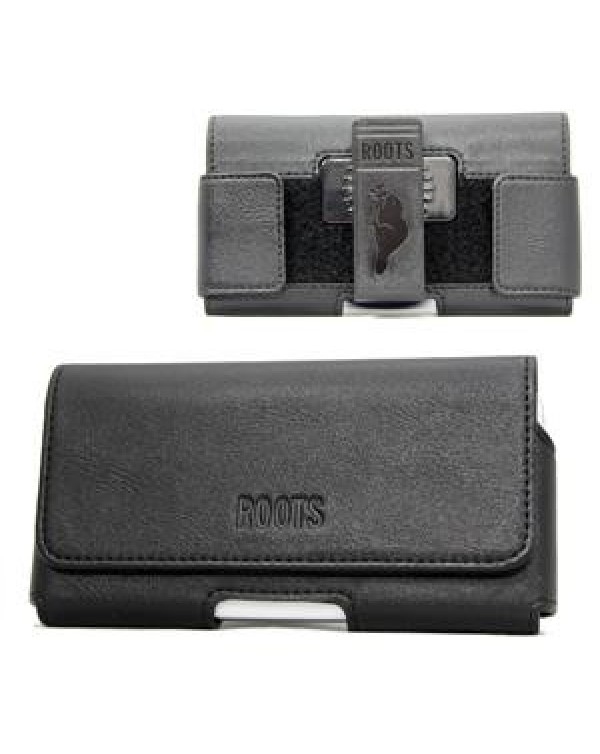 Roots Horizontal Leather Holster with Adjustable Velcro Sides To Fits Large Phones