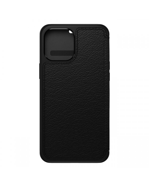 Otterbox - Strada Folio Leather Case Shadow (Black/Pewter) for iPhone 12 Pro Max