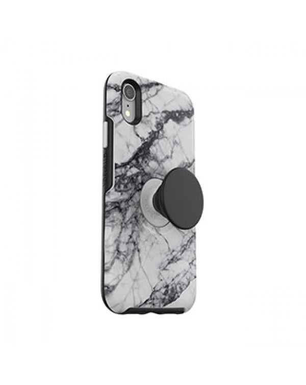 iPhone XR Otterbox + POP White/Black (White Marble) Symmetry Series Case