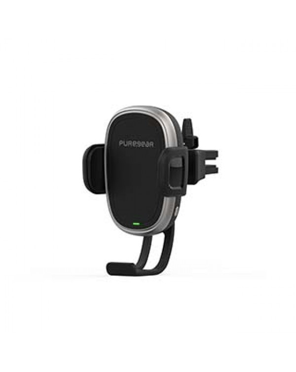 PureGear 10W Black AutoGrip Universal Car Charging Mount w/ Qi + Vent Clip