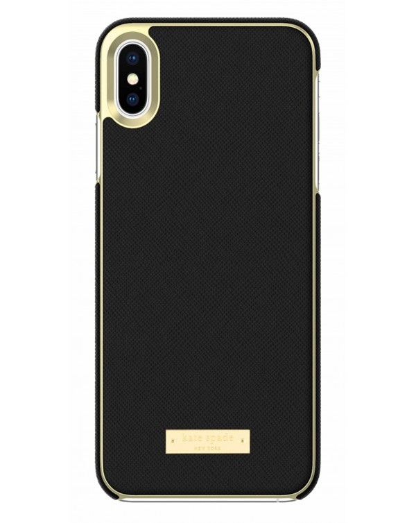 Kate Spade - Wrap Case Saffiano Black Gold Plate for iPhone XS Max