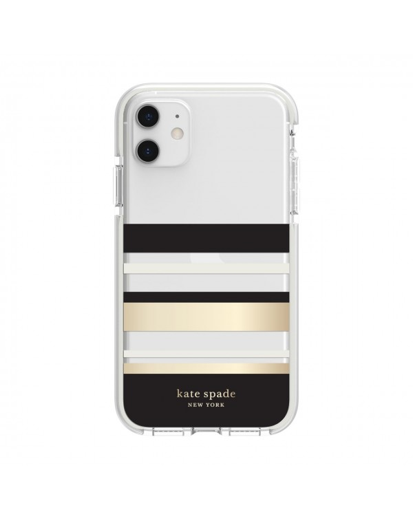 Kate Spade - Defensive Hardshell Case Park Stripe Clear for iPhone 11