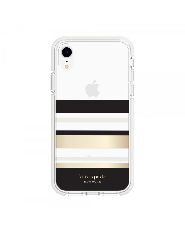 Kate Spade - Defensive Hardshell Case Park Stripe Gold Foil for iPhone XR