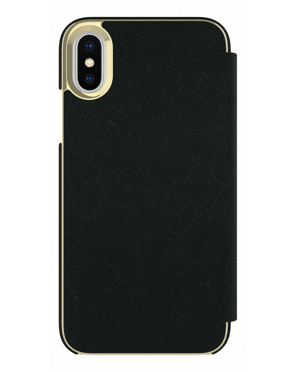 Kate Spade - Folio Case Saffiano Black Gold Plate for iPhone XS/X