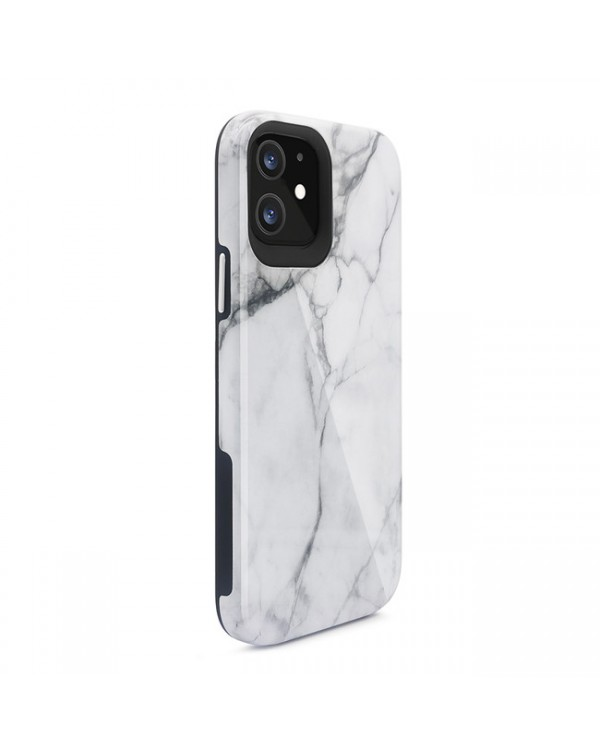Blu Element - Mist 2X Fashion Case White Marble Glossy for iPhone 12/12 Pro