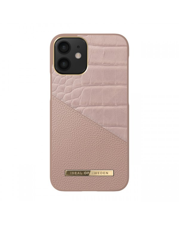 Ideal of Sweden - Atelier Fashion Case Rose Smoke Croco for iPhone 12 mini