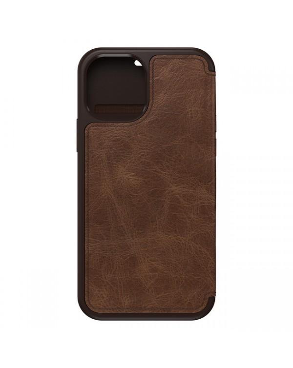 Otterbox - Strada Folio Leather Case Dark Brown/Rodeo Brown for iPhone 12 mini