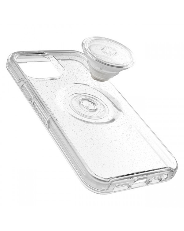 Otterbox - Otter + Pop Symmetry Clear Case with Swappable PopTop Silver Flake/Clear for iPhone 12 mini