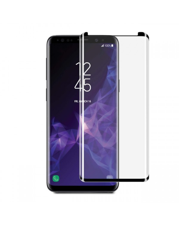 3D Curved Glass Case Friendly Screen Protector Black for Samsung Galaxy S9