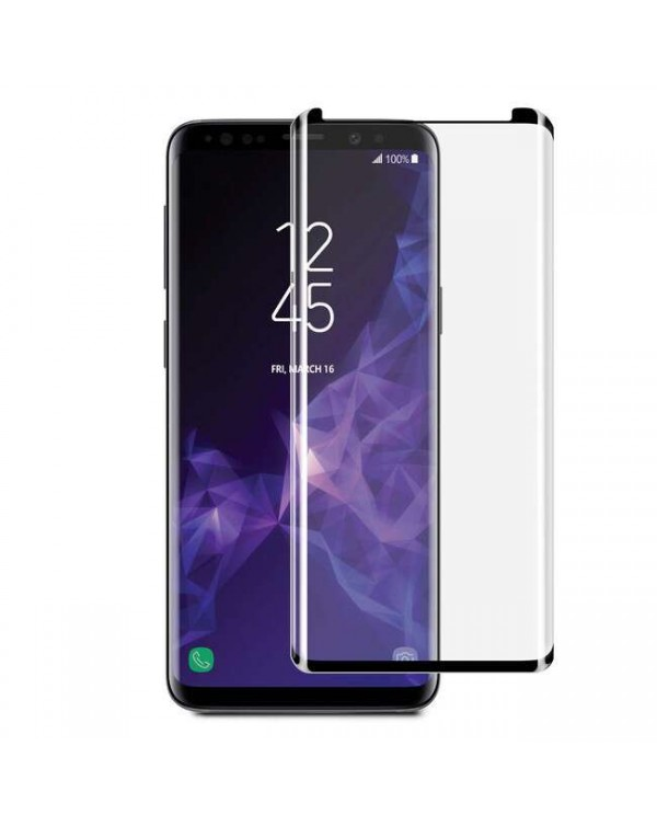 3D Curved Glass Screen Protector Case Friendly Black for Samsung Galaxy S9+