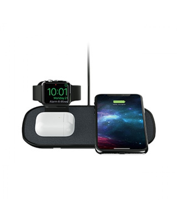 mophie black wireless 3-in-1 charge base Compatible w/ Apple Watch + Airpods